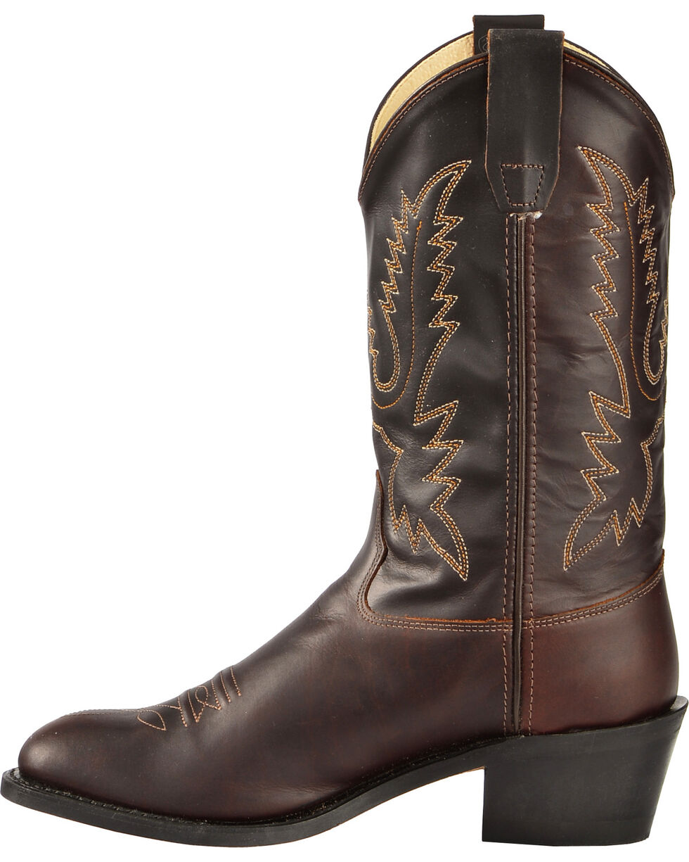 Old West Youth Boys' Oiled Corona Leather Cowboy Boots, Rust, hi-res