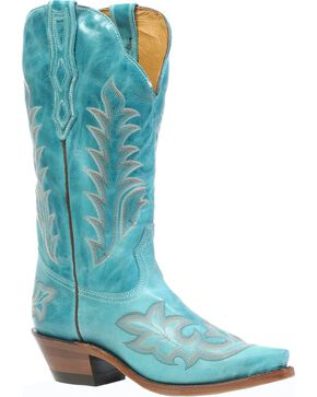 Boulet Deerlite Cowgirl Boots - Snip Toe, Turquoise, hi-res