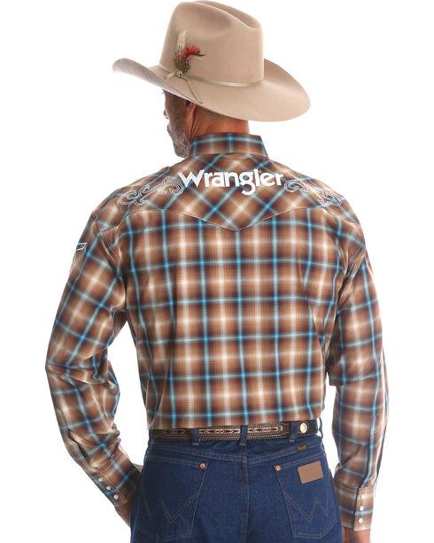 Wrangler Men's Plaid Logo Long Sleeve Shirt, Brown, hi-res