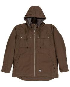 Berne Men's Brown Modern Zip Off Hooded Work Chore Coat , Brown, hi-res