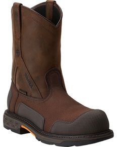 Ariat Overdrive XTR H20 Pull-On Work Boots - Steel Toe, Brown, hi-res