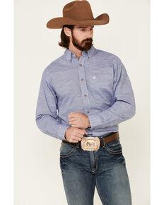 Ariat Men's Solid Blue Slub Button Long Sleeve Western Shirt , Blue, hi-res