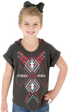 Wrangler Rock 47 Girls' Hooded Aztec Print Tee, Grey, hi-res