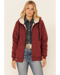 Ariat Women's R.E.A.L Rhubarb Arm Logo Sherpa-Lined Zip-Front Hoodie , Red, hi-res