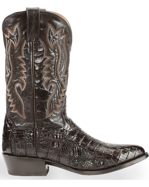 Dan Post Men's Everglades Chocolate Belly Caiman Cowboy Boots - Round Toe, Chocolate, hi-res