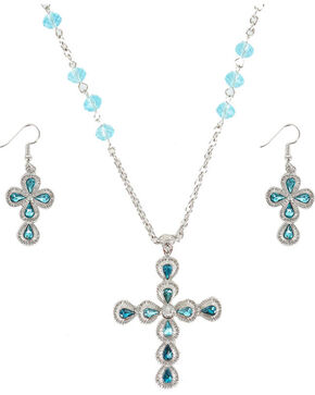 Shyanne Women's Turquoise Cross Rhinestones Jewelry Set, Silver, hi-res