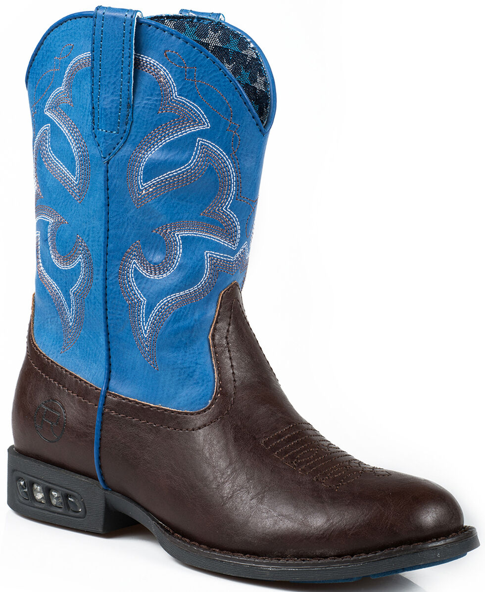 Roper Toddler Boys' Blue Faux Leather Light-Up Cowboy Boots - Square Toe, Brown, hi-res