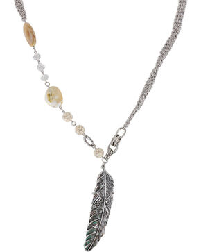 Shyanne Women's Large Feather and Stones Necklace, Cream, hi-res
