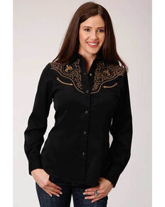 Old West Women's Cowboy Embroidered Long Sleeve Western Shirt, Black, hi-res