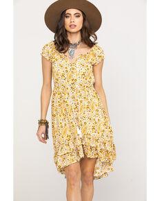 c17a502a237 Shyanne Womens Mustard Paisley Patchwork Off Shoulder Dress