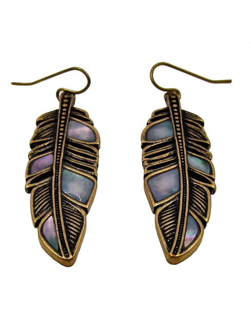 Silver Jeans Women's Gold Tone Feather Earrings, Gold, hi-res