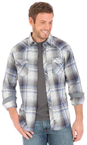 Wrangler Retro Men's Herringbone Print Over Plaid Long Sleeve Snap Shirt - Big and Tall, Blue, hi-res