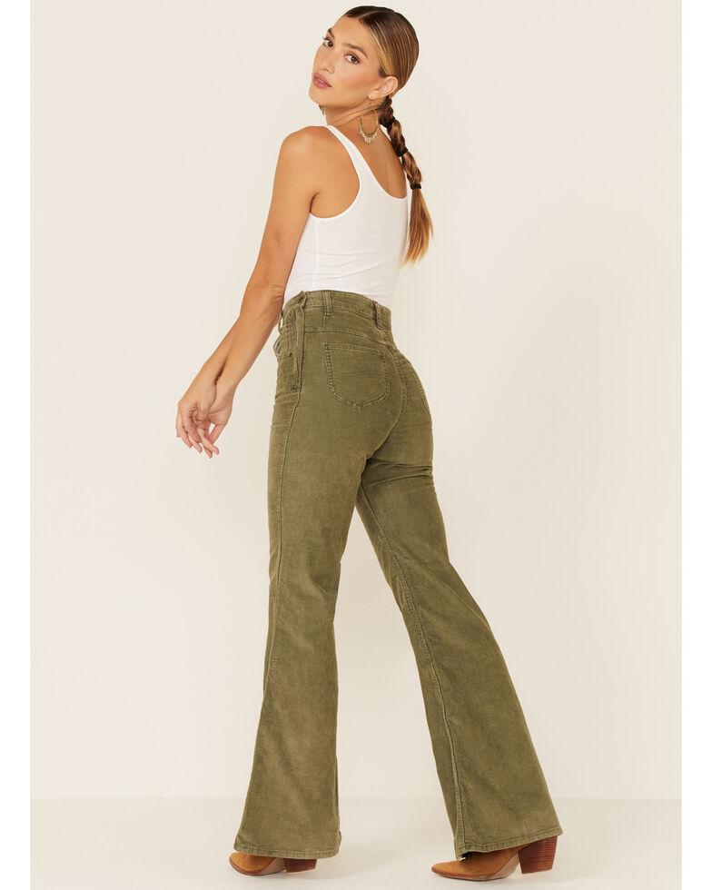 Lee Women's Olive Corduroy High Rise Flare Jeans , Olive, hi-res