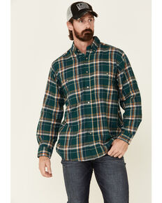 Wrangler Rugged Wear Men's Green Blue Ridge Long Sleeve Western Flannel Shirt - Big & Tall, Green, hi-res