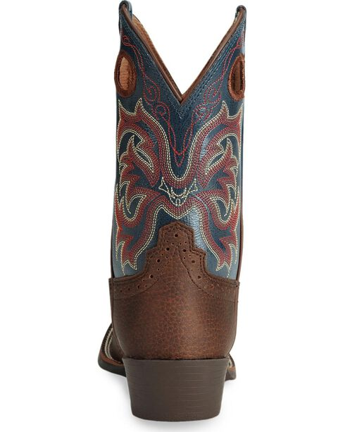 Justin Boys' Stampede Cowboy Boots - Square Toe, Dark Brown, hi-res