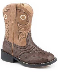 Roper Toddler Boys' Daniel Western Boots - Square Toe, Brown, hi-res
