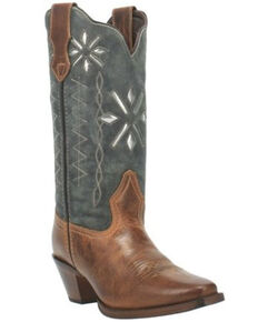 Laredo Women's Passion Flower Western Boots - Square Toe, Cognac, hi-res