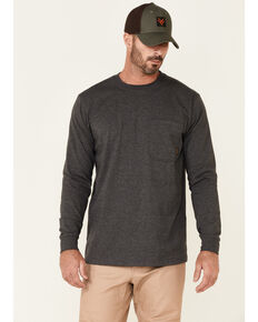 Hawx Men's Solid Charcoal Forge Long Sleeve Work Pocket T-Shirt , Charcoal, hi-res