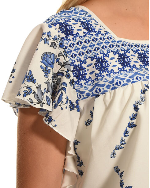Katie's Kloset Women's Ruffle Sleeve Print Top - Plus Size, Blue/white, hi-res