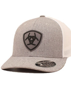 Ariat Men's Grey Center Logo Patch Flex Fit Mesh Cap , Grey, hi-res
