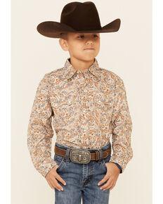 Roper Boys' Brown Grand Dads Paisley Print Long Sleeve Snap Western Shirt , Brown, hi-res