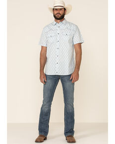 Moonshine Spirit Men's Taboo Med Print Short Sleeve Western Shirt , White, hi-res