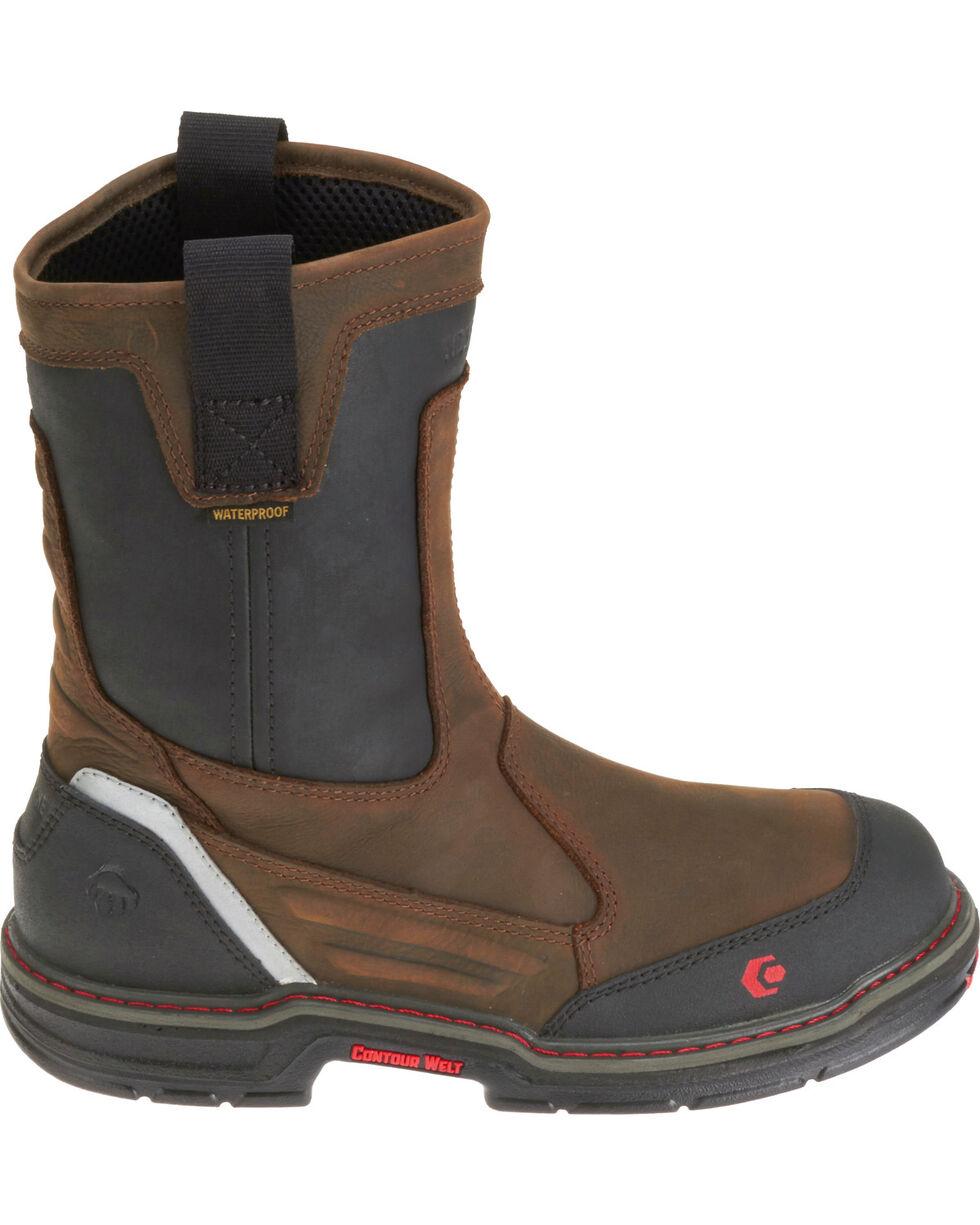 "Wolverine Men's Overman 10"" Wellington Work Boots - Comp Toe, Black/brown, hi-res"