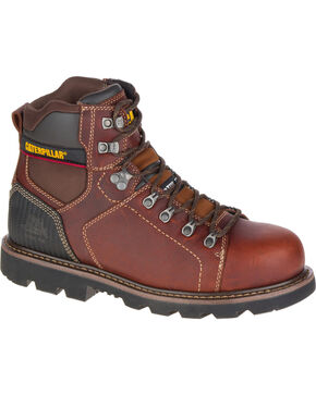 "CAT Men's Alaska 6"" Work Boots - Steel Toe, Brown, hi-res"