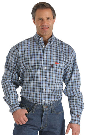 Cinch WRX Flame-Resistant Navy Plaid Shirt, Blue, hi-res