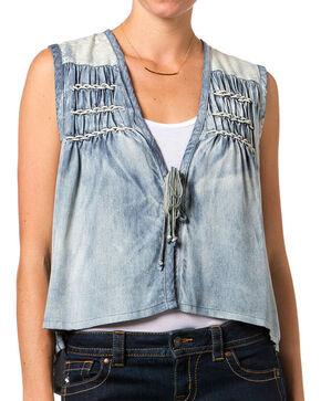 Miss Me Women's Chambray  Aztec Vest, Blue, hi-res