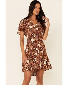 Idyllwind Women's Rust Floral Feeling Good Dress , Rust Copper, hi-res