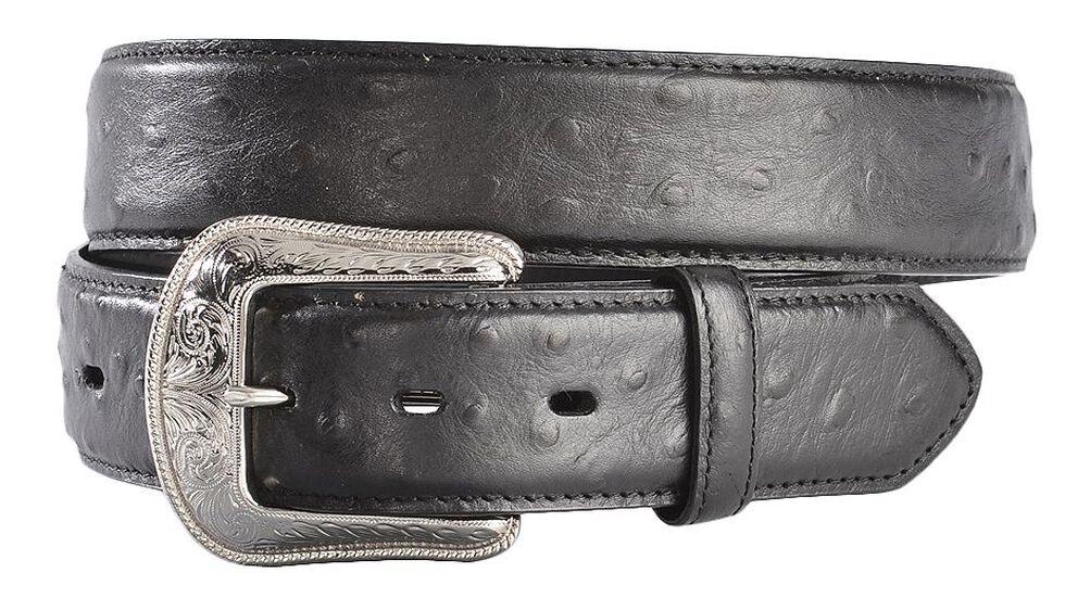 3D Black Ostrich Print Leather Belt, Black, hi-res