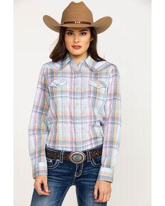 eabb5d539ff Wrangler Womens Plaid Core Snap Long Sleeve Western Shirt