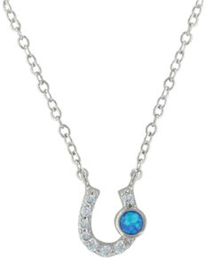 Montana Silversmiths Women's Silver Lightfoot Horseshoe Necklace , Silver, hi-res