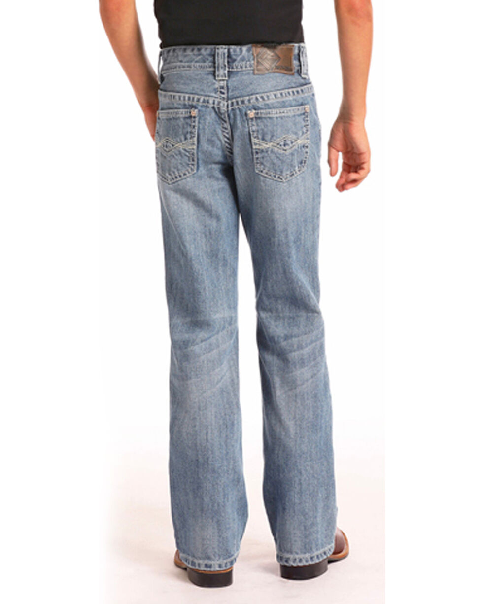 Rock & Roll Cowboy Boys' Medium Vintage Wash Regular Fit Jeans (4-20) - Boot Cut, Blue, hi-res