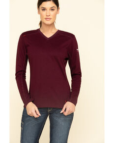Ariat Women's Malbec FR AC Long Sleeves Top, Red, hi-res