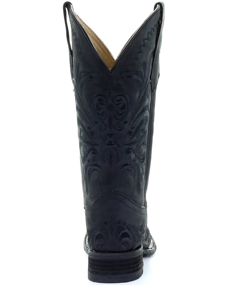 Circle G Women's Black Embroidery Western Boots - Square Toe, Black, hi-res