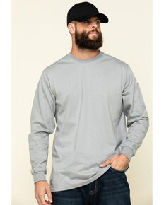 Ariat Men's Silver Fox FR Longhorn Graphic Long Sleeve Work T-Shirt , Silver, hi-res
