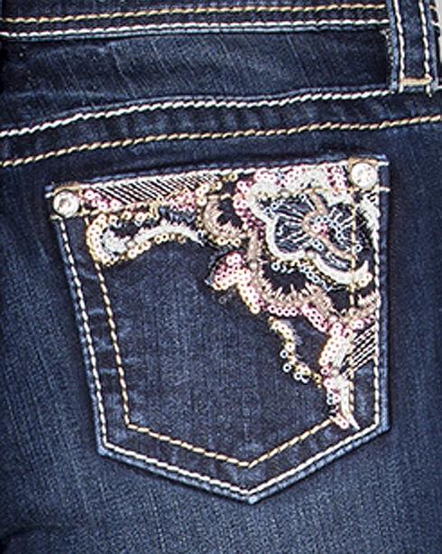 Miss Me Girls' Indigo Flower Embellished Jeans - Boot Cut , Indigo, hi-res
