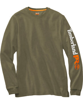 Timberland PRO Men's Olive Base Plate Wicking Logo Long Sleeve T-Shirt, Olive, hi-res