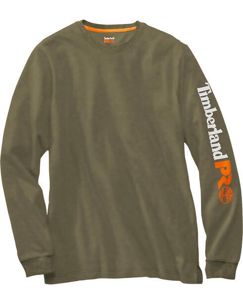 Timberland PRO Men's Olive Base Plate Wicking Logo Long Sleeve T-Shirt, Olive, hi-res