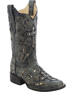Corral Women's Black / Multicolor Sequin Cross Boots - Square Toe, Black, hi-res