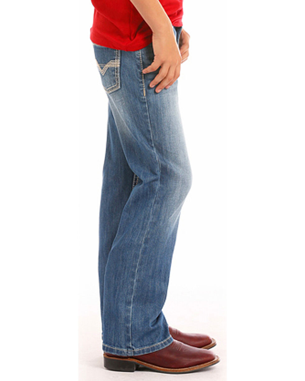 Rock & Roll Cowboy Boys' Khaki Embroidered Boot Cut Jeans - (4-20) , Indigo, hi-res