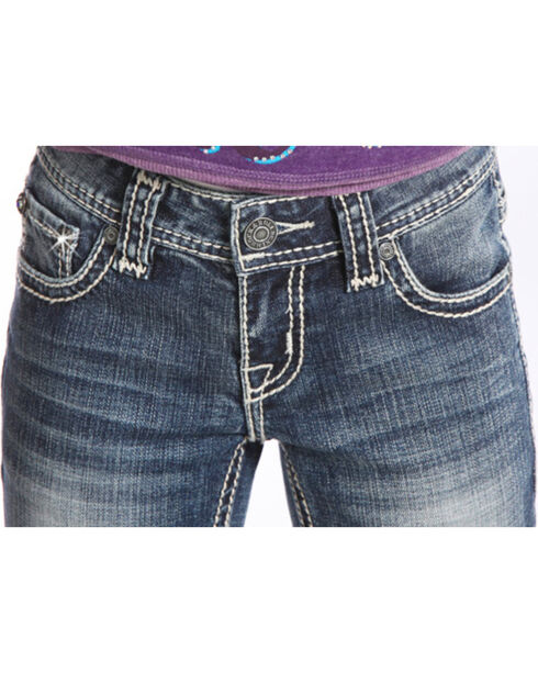 Rock & Roll Cowgirl Girls' Indigo Diamond Stitched Jeans - Boot Cut , Indigo, hi-res