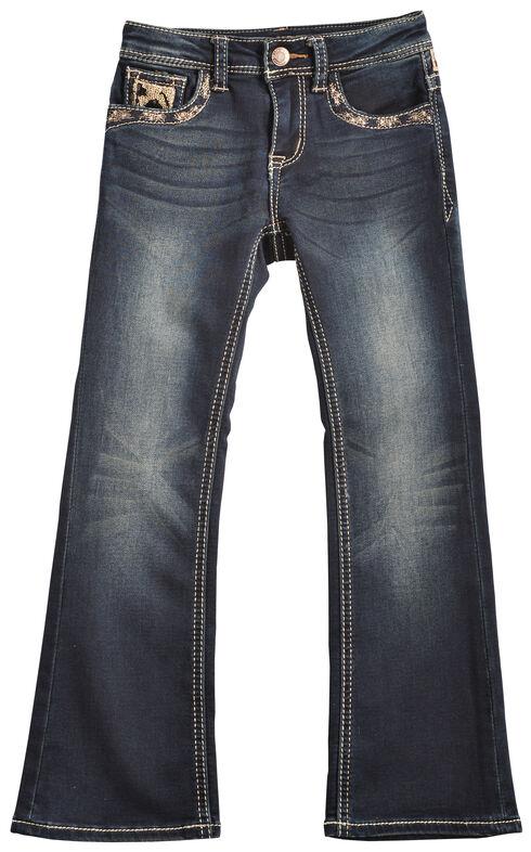 Grace in LA Girls' Cheetah Print Bootcut Jeans, Denim, hi-res