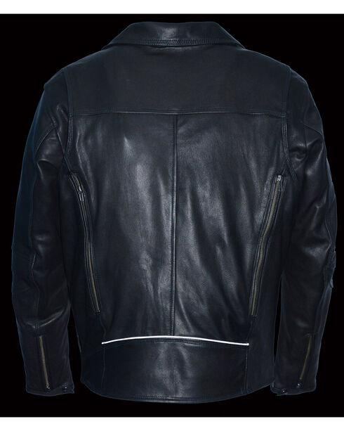Milwaukee Leather Men's Black Lightweight Extra Long Biker Jacket - Big 3X , Black, hi-res