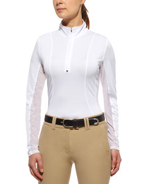 Ariat Sunstopper Zip Top, White, hi-res