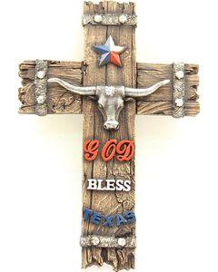 God Bless Texas Small Wall Cross, Multi, hi-res