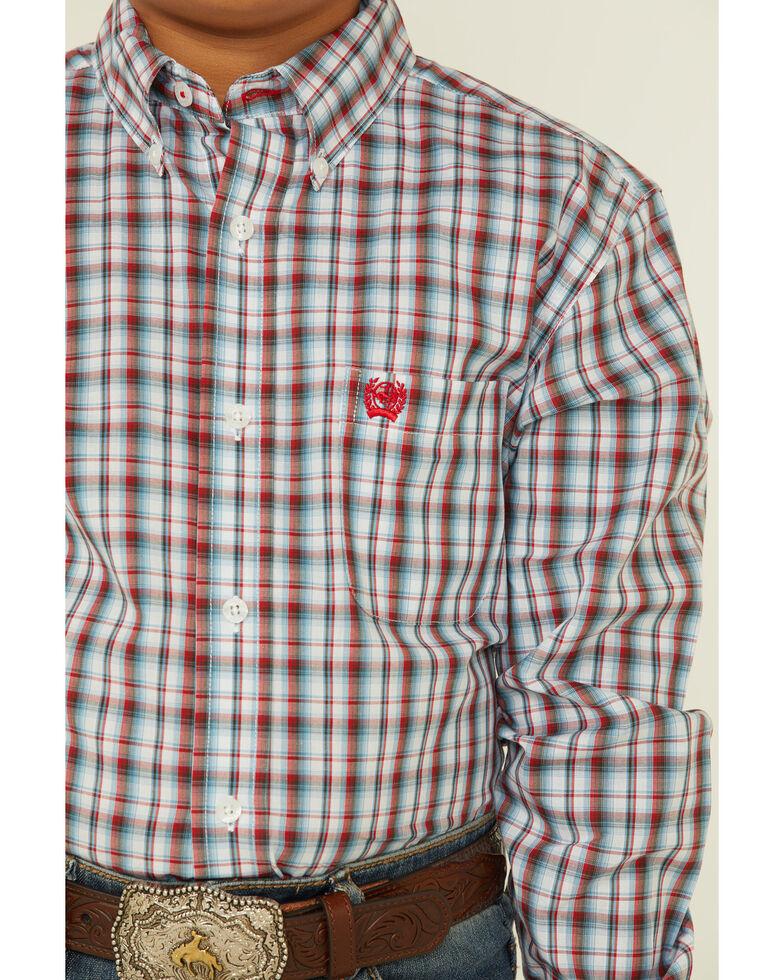 Cinch Boys' Blue Plaid Long Sleeve Button-Down Western Shirt , Blue, hi-res