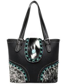 Montana West Women's Cowhide Tote Bag, Black, hi-res